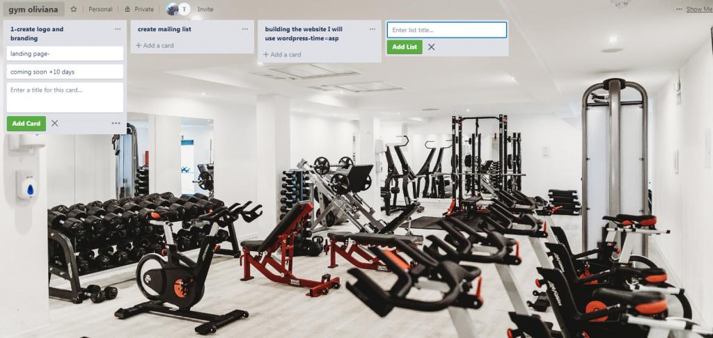 البدء في العمل على موقع gym ل oliviana